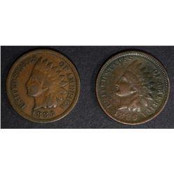 2 -1886 INDIAN CENTS, T-1 FINE & T-2 VG
