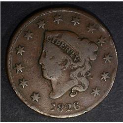1826 LARGE CENT VG/FINE RIM BUMPS