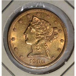 1900-S $5.00 GOLD LIBERTY, AU