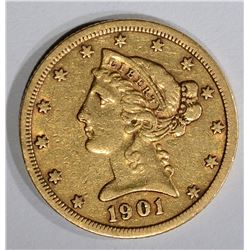1901-S $5.00 GOLD LIBERTY, XF