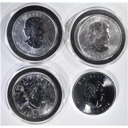 2-2013 & 2-2014 1oz SILVER CANADA MAPLE LEAF COINS