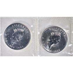2-1993 ONE OUNCE SILVER CANADA MAPLE LEAF COINS
