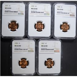 5 P MINT LINCOLN CENTS NGC MS-66 RD