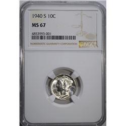 1940-S MERCURY DIME, NGC MS-67