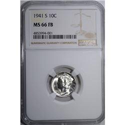 1941-S MERCURY DIME, NGC MS-66 FB