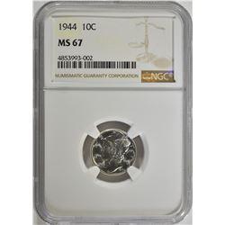 1944 MERCURY DIME, NGC MS-67