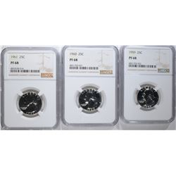 1959, 60 & 61 WASHINGTON QUARTERS, NGC PF-68