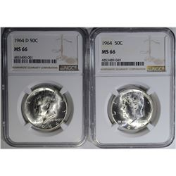1964 & 64-D KENNEDY HALF DOLLARS, NGC MS-66