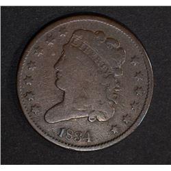 1834 HALF CENT  FINE