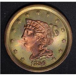1856 HALF CENT  AU/UNC