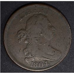 1804 DRAPED BUST HALF CENT CROSSLET 4 STEMLESS