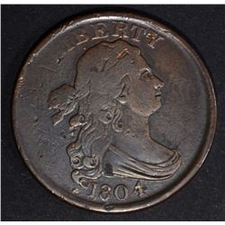 1804 DRAPED BUST HALF CENT PLAIN 4 STEMLESS