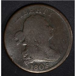 1805 LARGE 5 STEMS DRAPED BUST HALF CENT