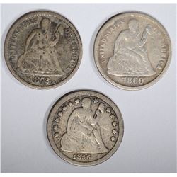 3 SEATED LIBERTY DIMES: 1869-S VF, 1872 VG &