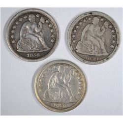 3 SEATED LIBERTY DIMES: 1859-O VG,