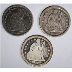 3 SEATED LIBERTY DIMES: 1841 G, 1842 VF &