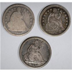 3 SEATED LIBERTY DIMES: 1837 NO STARS VG,