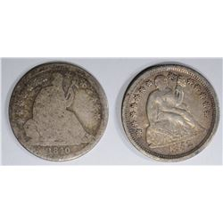 1852 XF & 1840-O AG SEATED LIBERTY DIMES