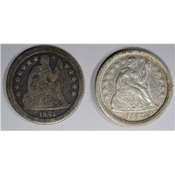 1841-O G & 1842-O VF SEATED LIBERTY DIMES