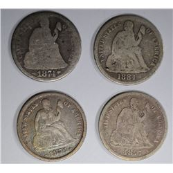 4 SEATED LIBERTY DIMES:  1884 G,