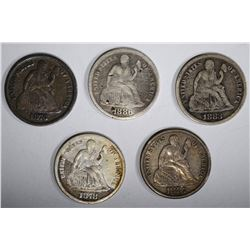 5 SEATED LIBERTY DIMES: 1886 NICKS,