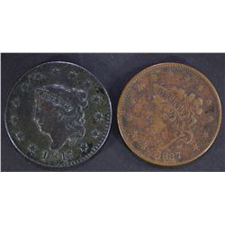(2) LARGE CENTS: 1837 VF & 1817 13 STARS VF