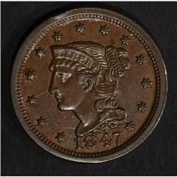 1847 BRAIDED HAIR LARGE CENT  CH BU