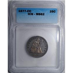 1877-CC SEATED QUARTER ICG MS-62