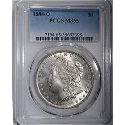 1884-O MORGAN SILVER DOLLAR PCGS MS-65