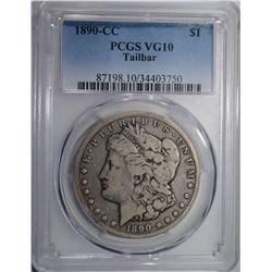 1890-CC MORGAN SILVER DOLLAR PCGS VG10 TAILBAR