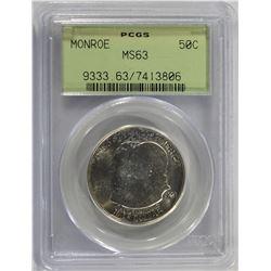 1923-S MONROE COMMEM HALF DOLLAR PCGS MS-63