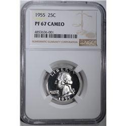 1955 WASHINGTON QTR NGC PF67 CAMEO