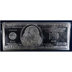 """4-OUNCE ,999 SILVER """"100 DOLLAR BILL"""" IN BOX/COA"""