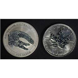 2-DIFFERENT BU WORLD ONE OUNCE SILVER COINS