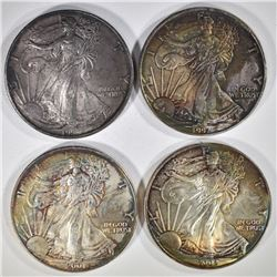 LOT OF 4 TONED AMERICAN SILVER EAGLES