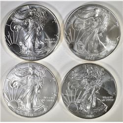 1994, 2002, 11, & 12 BU AMERICAN SILVER EAGLES