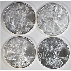 2002, 03, 08 & 14 BU AMERICAN SILVER EAGLES
