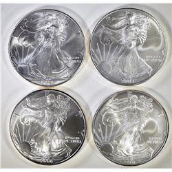 2002, 04, 06 & 2010 BU AMERICAN SILVER EAGLES