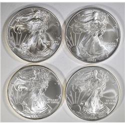 2000, 03, O6 & 08 BU AMERICAN SILVER EAGLES