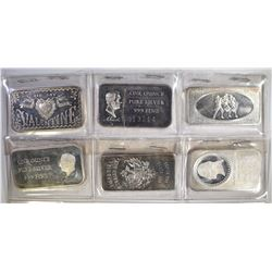 6-DIFFERENT ONE OUNCE .999 SILVER BARS