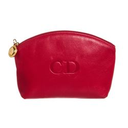 Christian Dior Red Leather Zip Top Small Pouch