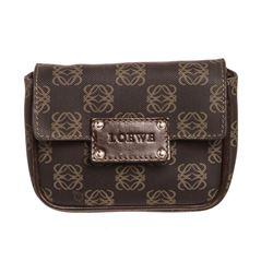 Loewe Brown Beige Canvas Leather Logo Waist Bag