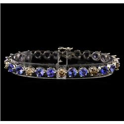 14KT White Gold 9.46 ctw Tanzanite and Diamond Bracelet