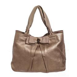 Salvatore Ferragamo Metallic Bronze Leather Miss Vara Bow Tote Bag