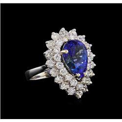 5.15 ctw Tanzanite and Diamond Ring - 14KT White Gold