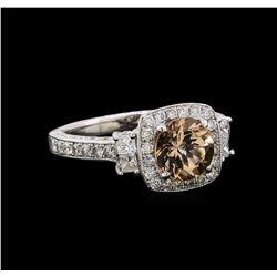 1.18 ctw Morganite and Diamond Ring - 14KT White Gold