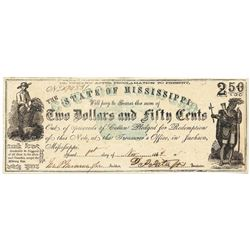 1862 $2.50 Jackson, MS Obsolete Bank Note