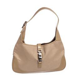 Gucci Beige Canvas Leather Trimmed Jackie Hobo Shoulder Bag