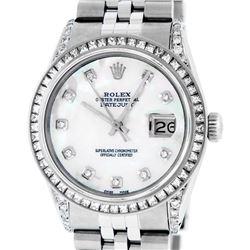 Rolex Mens Stainless Steel MOP Diamond Lugs 36MM Datejust Wristwatch