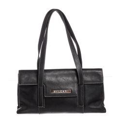 Bvlgari Black Leather Stitch Shoulder Bag